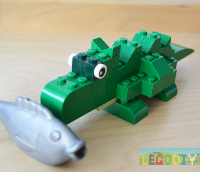 lego crocodile with fish